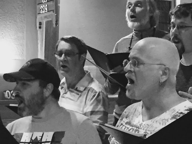 Stairwell tenors in rehearsal - David Rain, top left