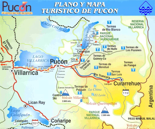 Mapa turístico de Pucón, no Chile