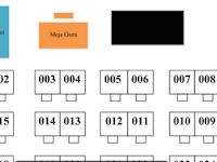Download Contoh Denah Duduk Tempat Bangku Kelas UAS dan Contoh Format Cetak Nomor Bangku Kelas UAS Format docx