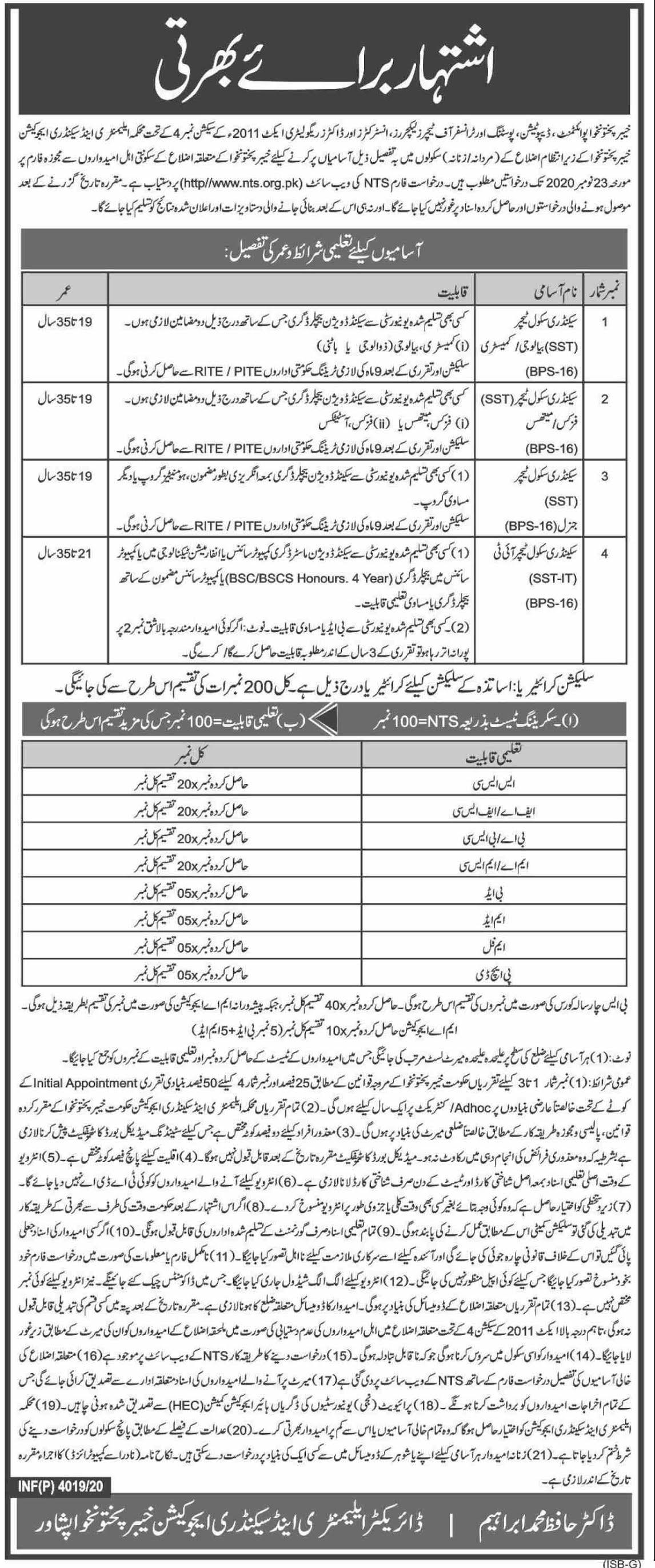 Elementary & Secondary Education Department Latest Jobs in Pakistan Jobs 2021 - Online Apply - www.nts.org.pk