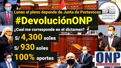 #DevoluciónONP depende de Junta de Portavoces Que dice el dictamen a debatir?