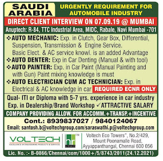 Automobile Industry Requirement for Saudi Arabia