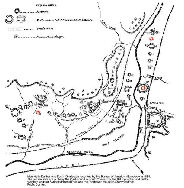 Tumuli a Dunbar e South Charleston registrati dal Bureau of American Ethnology nel 1884