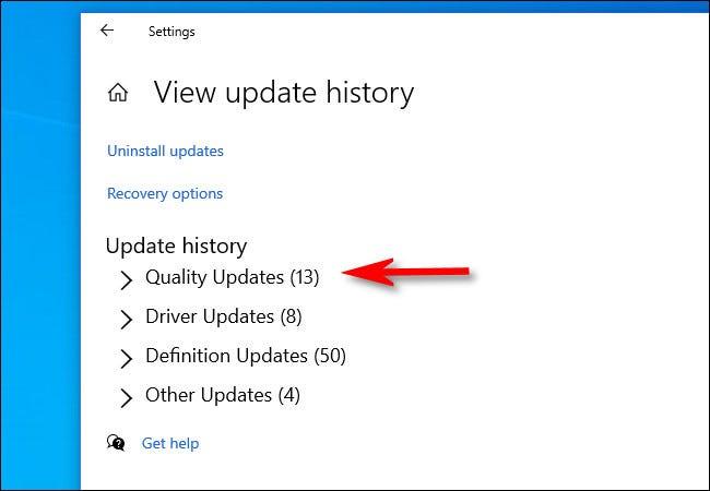 Tampilan kategori riwayat update di windows 10 | gaptgeek