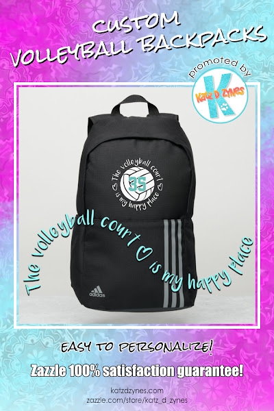 The volleyball court is my happy place custom sports backpacks from katzdzynes