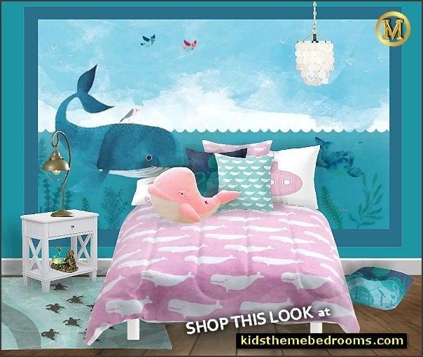 whale pink comforter whale wall mural whale pillows nautical lamp mermaid lamp ocean area rug shell chandelier fishy floor pillows plush whale toys turtle area rug