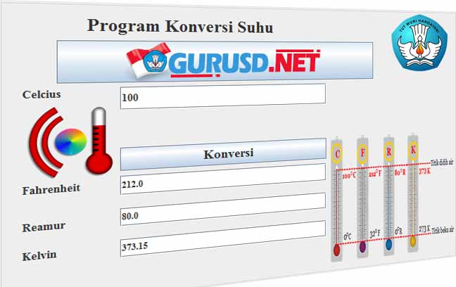 Program Konversi Suhu Celcius Fahrenheit Reamur Dan Kelvin Model Baru Kurikulum 2013 Revisi