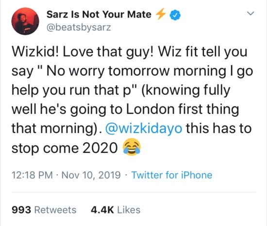 """Wizkid Is A Liar"" – Producer Sarz Reveals On Twitter, Wizkid Responds"