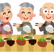 楽しそうに食事をしている老人のイラスト