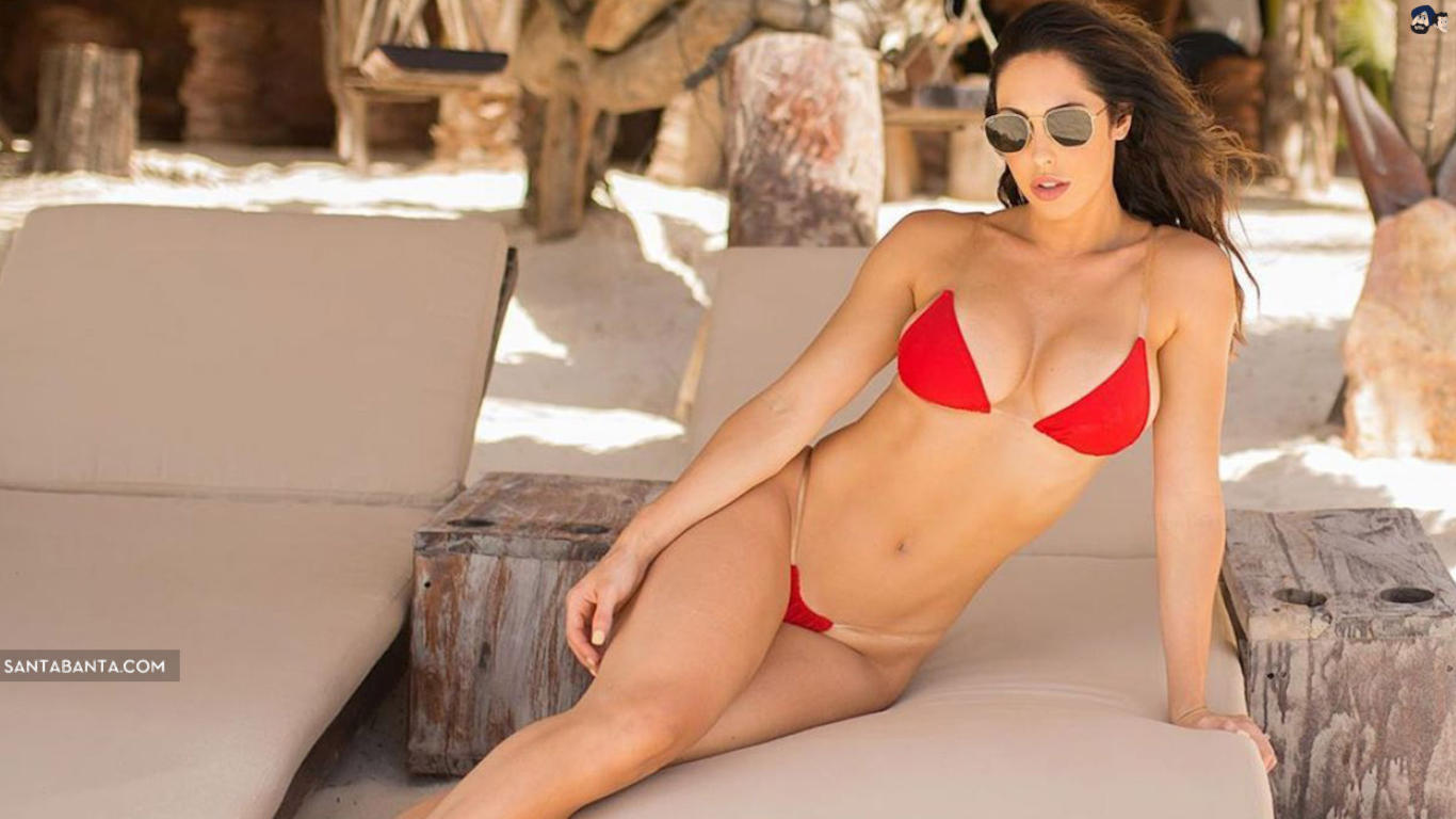Hope Beel Red Bikini Sexy Wallpaper