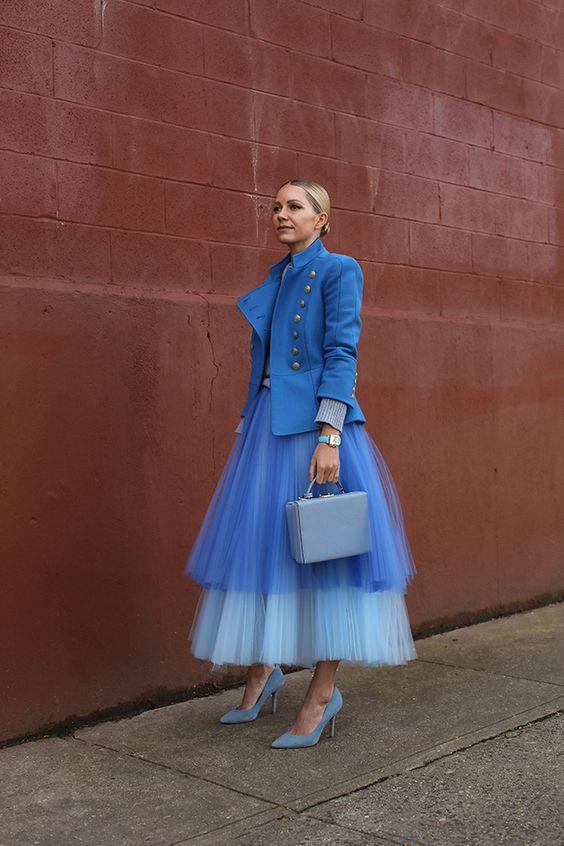 Blair Eadie Bee Blue Blazer Blue Tulle Chiffon Skirt