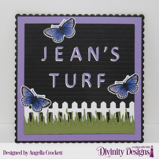 Divinity Designs Letterboard Dies, Scalloped Squares Dies, Fence Die, Grass Lawn Die, Butterfly and Bugs Stamp/Die Duos, Project Designed by Angie Crockett
