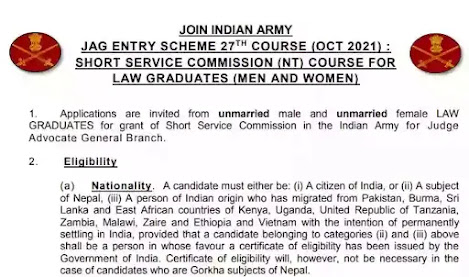 Join Indian Army 2021| SSC Officers Posts | Law graduate