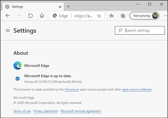تقول Microsoft Edge أنها محدثة على جهاز كمبيوتر يعمل بنظام Windows.