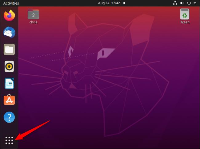 """زر """"إظهار التطبيقات"""" في الركن الأيسر السفلي من سطح مكتب Ubuntu."""