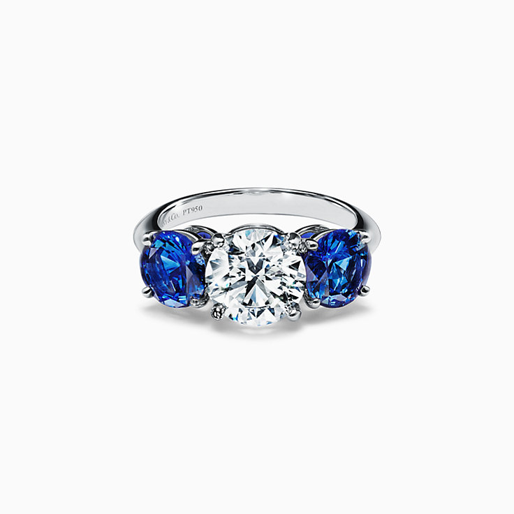 Tiffany Three Stone Engagement Ring with Sapphire Side Stones in Platinum