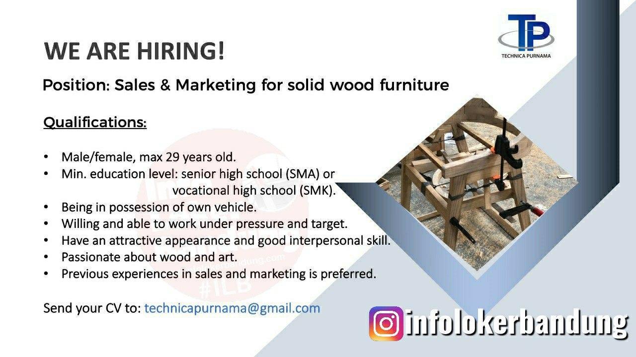 Lowongan Kerja Sales & Marketing For Solid Wood Furniture Technica Purnama Bandung Juni 2020