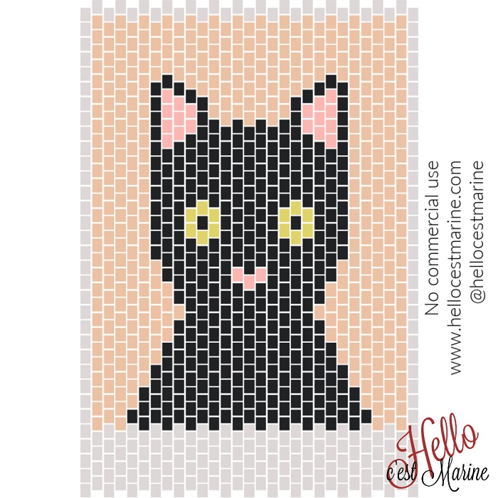 Un chat attentif à tisser en perles Miyuki Delicas 11/0 par Hello c'est Marine
