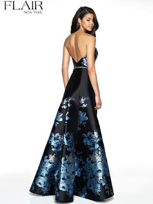 Brocade Side slit Flair Prom black-blue color dress back side