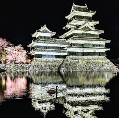 Japan in April: Matsumoto-jo Sakura Matsuri; cherry blossom festival at night