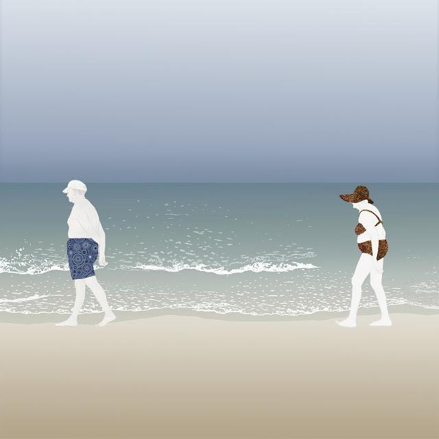 playa , jubilados , paseo , dibujo