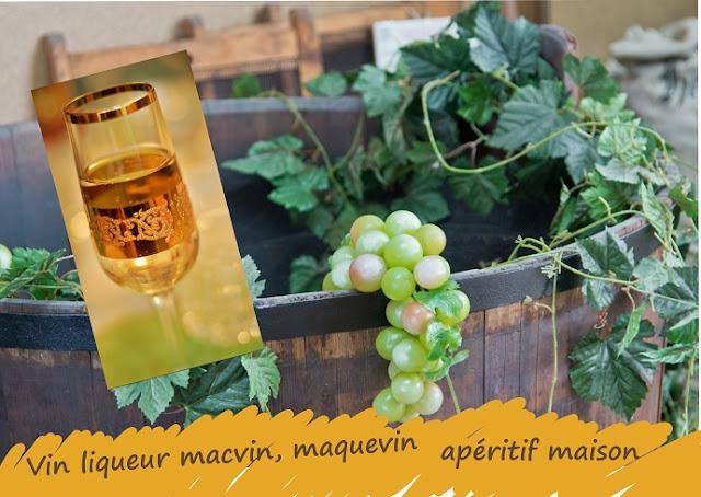 apéritif maison au moût de raisins blancs (jus de raisins), eau de vie, sucre