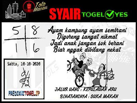 Syair Togel Yes Macau Sabtu 10 Oktober 2020