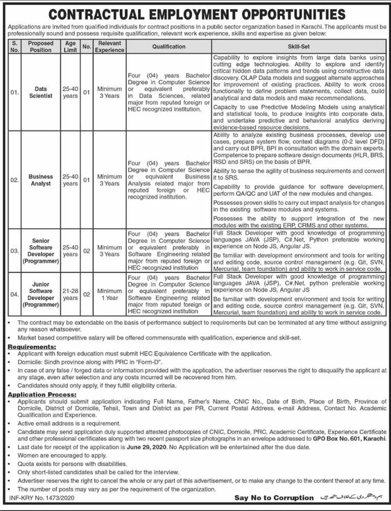 Latest Public Sector Organization Based In Karachi Jobs 2020