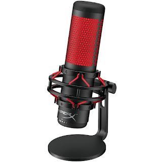Microfone Gamer HyperX QuadCast, Antivibração, LED, Preto e Vermelho - HX-MICQC-BK