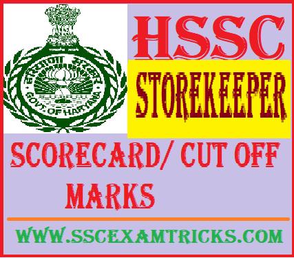 HSSC Storekeeper Scorecard/ Cut off Marks