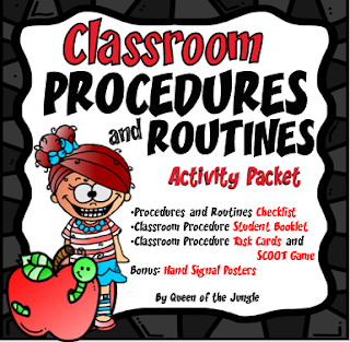 Routines and procedures activity packet and checklist for the first week in elementary school