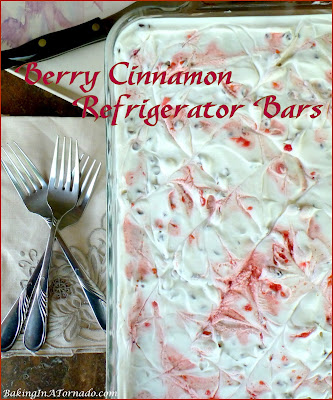 Berry Cinnamon Refrigerator Bars. Mixed berries, flavored whipped cream and cinnamon crusted crackers come together in this refreshing refrigerator dessert. | Recipe developed by www.BakingInATornado.com | #recipe #dessert