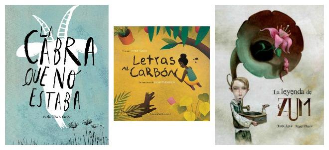 libros infantiles: la cabra que no estaba, letras al carbón, la leyenda de zum