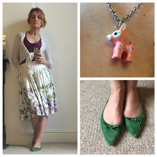 Next floral print retro skirt, zara shoes