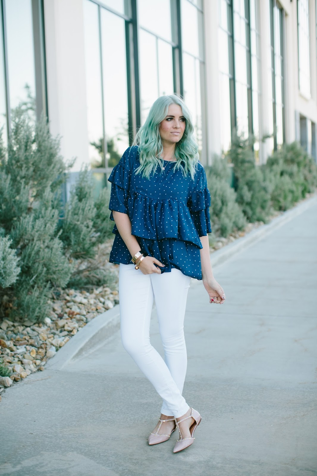 Ruffle Shirt, Polka Dot Shirt, White Jeans