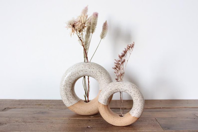 handmade neutral speckled terracotta donut vases