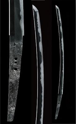 太刀「日光一文字」の全体写真、切っ先のアップ、茎(なかご)のアップ