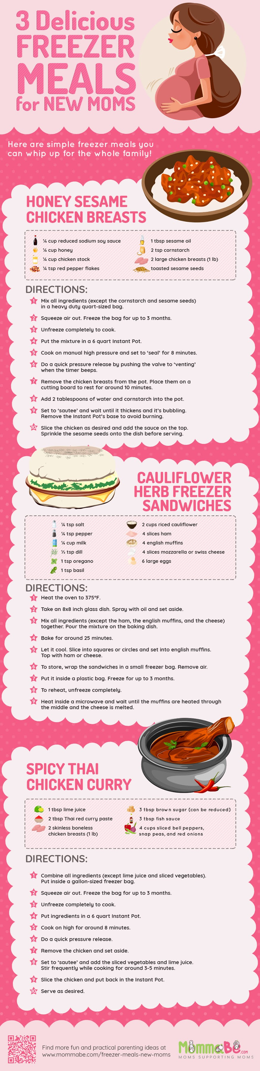 3 Delicious Freezer Meals For New Moms #infographic #Food #Health #infographics #New Moms #Freezer Meals #Meals