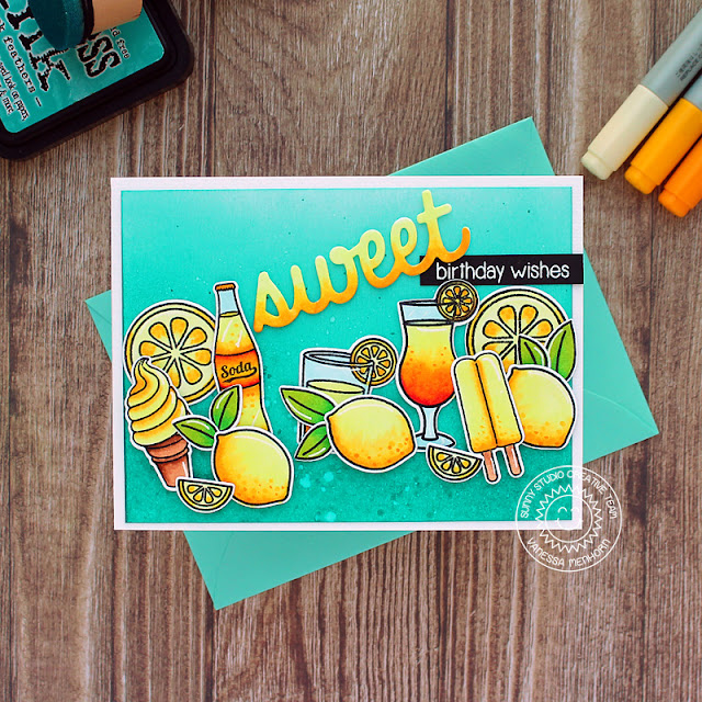 Sunny Studio Stamps: Sweet Word Die Summer Sweets Fresh & Fruity Tropical Paradise Summer Themed Birthday Card by Vanessa Menhorn