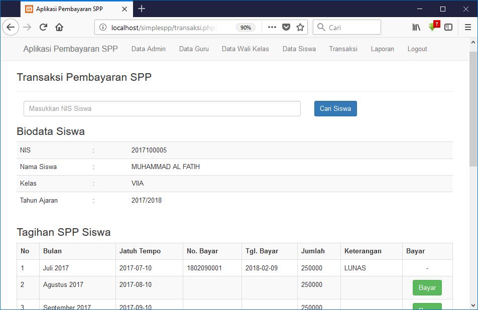 Aplikasi Pembayaran Spp Simplespp Menggunakan Php Dan