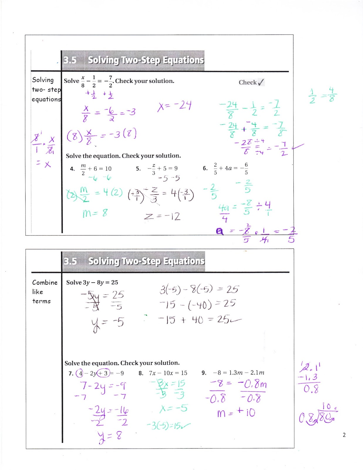 Ms Jean S Classroom Blog 3 5 Solving Two Step Equations