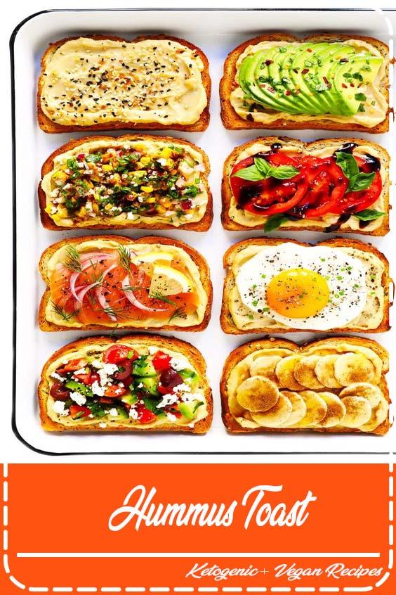 divertido de personalizar com suas coberturas favoritas Hummus Toast
