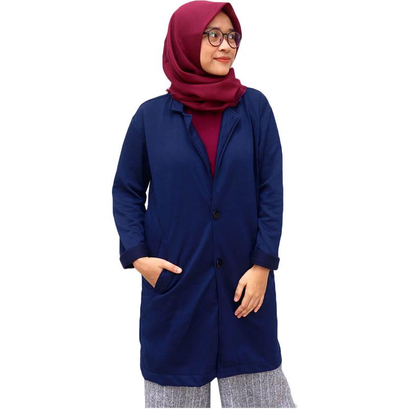Jaket Muslimah Hijaber / Long Cardi / Jaket Jas Blazer Wanita - Navy