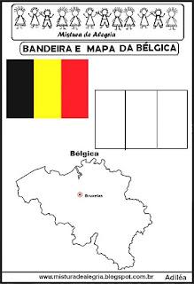 Bandeira e mapa da Bélgica