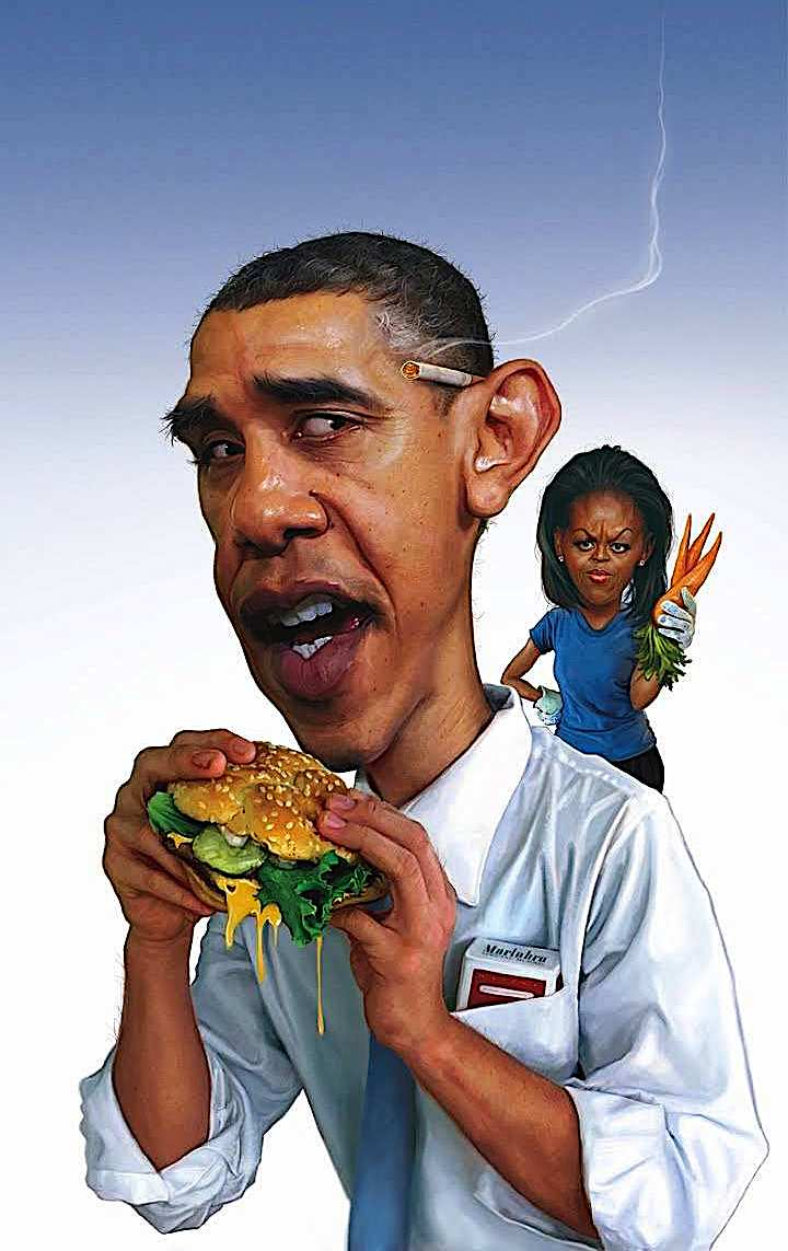 Barack and Michelle Obama in a Jason Seiler caricature 2010, showing health conscious Michelle unhappy with Barack's cigarette and hamburger