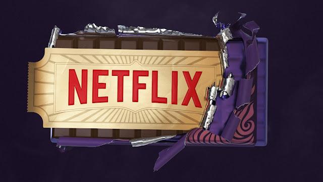 Imagem promocional da parceria entre a Netflix e a The Roald Dahl Company, fazendo referência ao livro A Fantástica Fábrica de Chocolate.