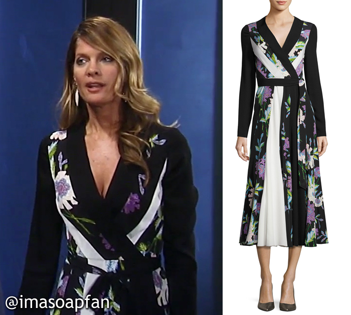 Nina Reeves, Michelle Stafford, Mixed Floral Print Wrap Dress, DVF, GH, General Hospital, Season 55, Episode 05/17/17