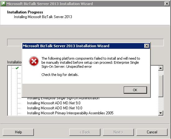 Installation Error Single Sign-On Server