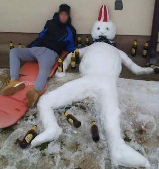 grappige sneeuwpop