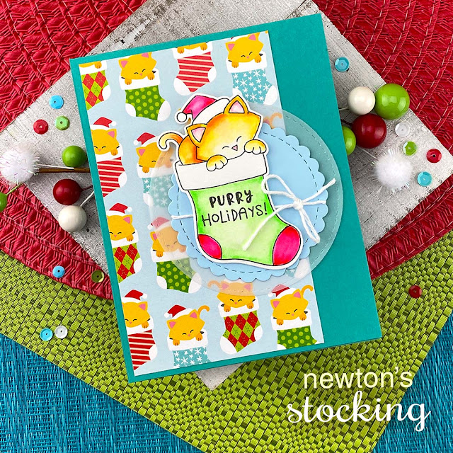 Cat Christmas Card by Jennifer Jackson | Newton's Stocking Stamp Set, Meowy Christmas Paper Pad, and Circle Frames Die Set by Newton's Nook Designs